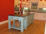 <h5>British style furniture piece blue painted island, Shaw's contemporary farmhouse sink</h5>