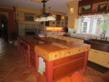 """<h5>6"""" end grain butcher block top over tiger maple drawers</h5>"""