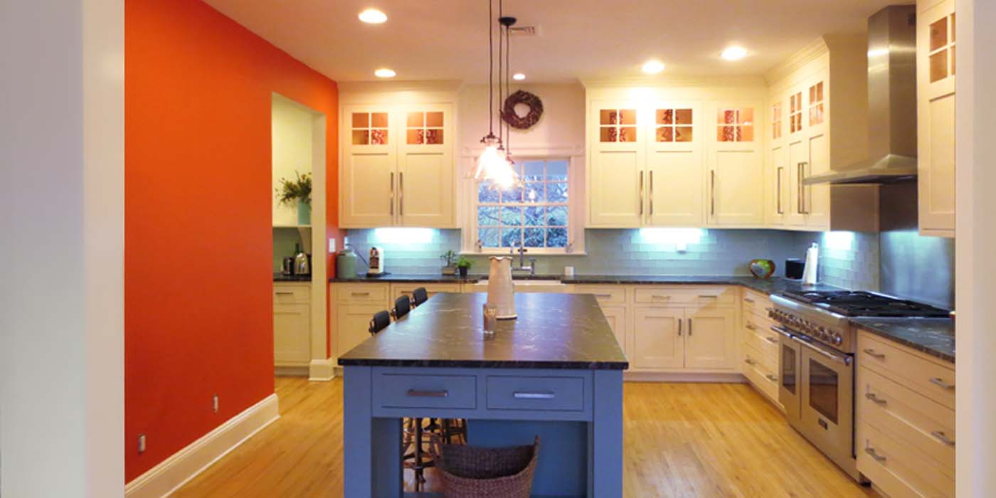 Natural Walnut Kitchen Island In Summit New Jersey: Ivory Cabinets With A Blue Glass Island